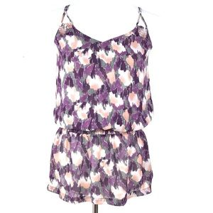Forever 21 Rory Beca Purple Abstract Blouson Top